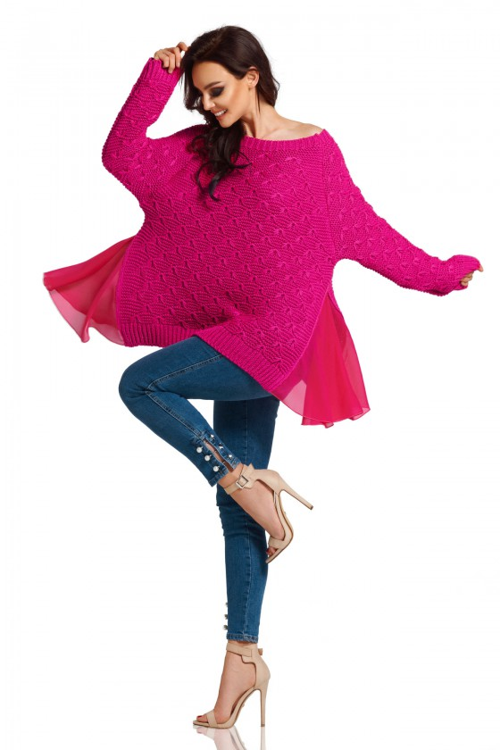 Pailgintas rožinis megztinis su šifonu_59509