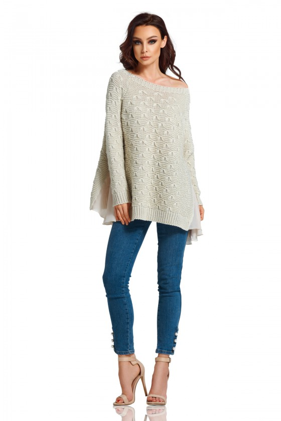 Pailgintas smėlinis megztinis su šifonu_59513
