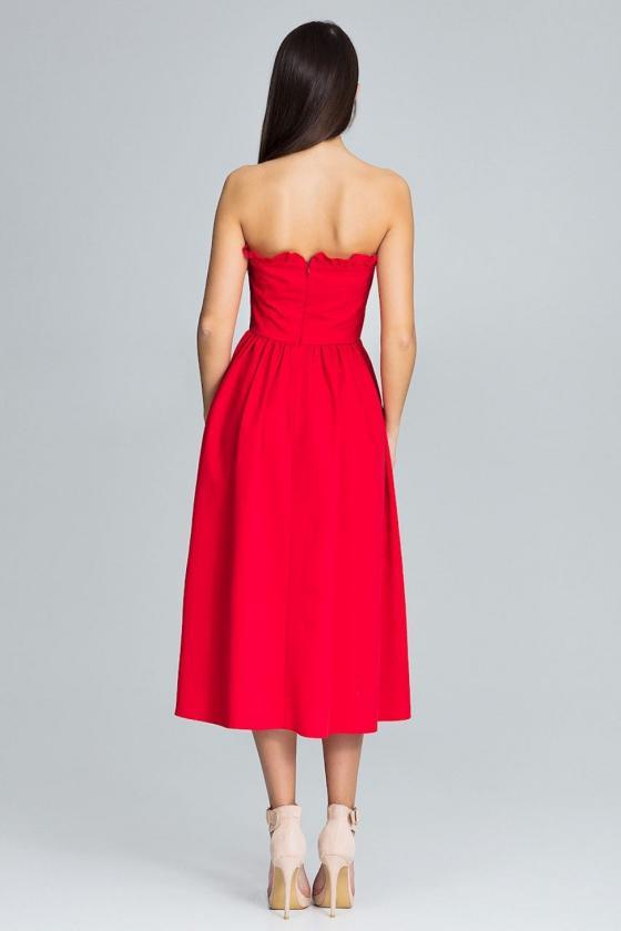 Smėlio spalvos suknelė dekoruota raukiniais_59520