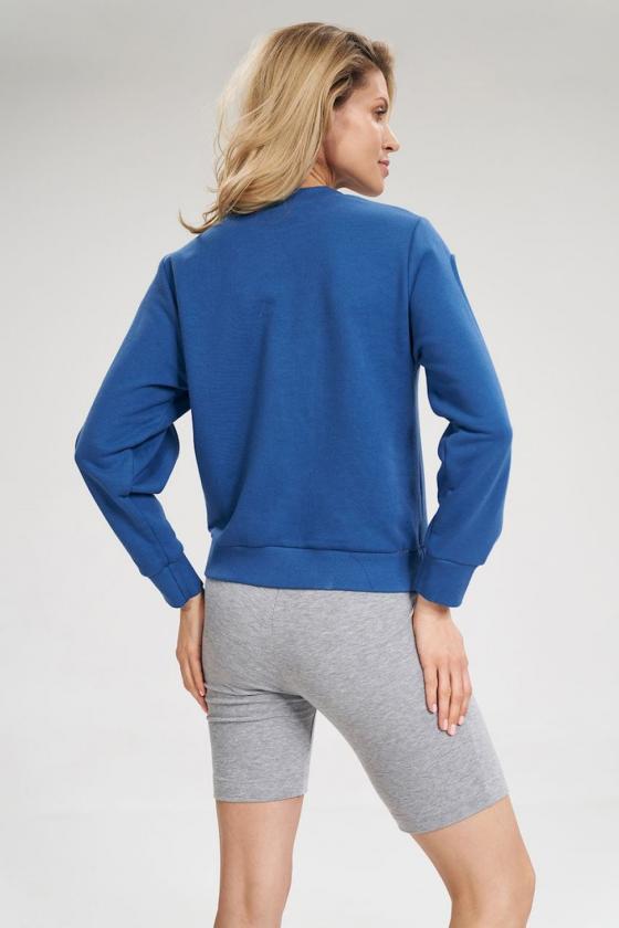 Mėlynos spalvos voko stiliaus suknelė su dirželiu_59568