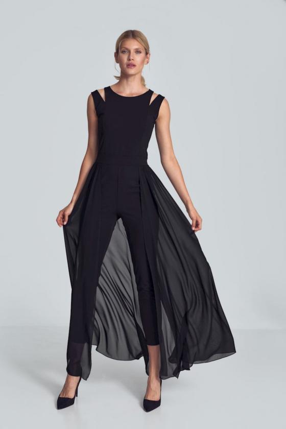 Mėlynos spalvos voko stiliaus suknelė su dirželiu_59570