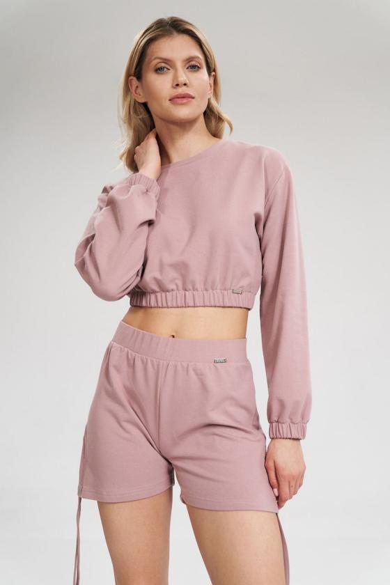 Rausvos spalvos suknelė be rankovių
