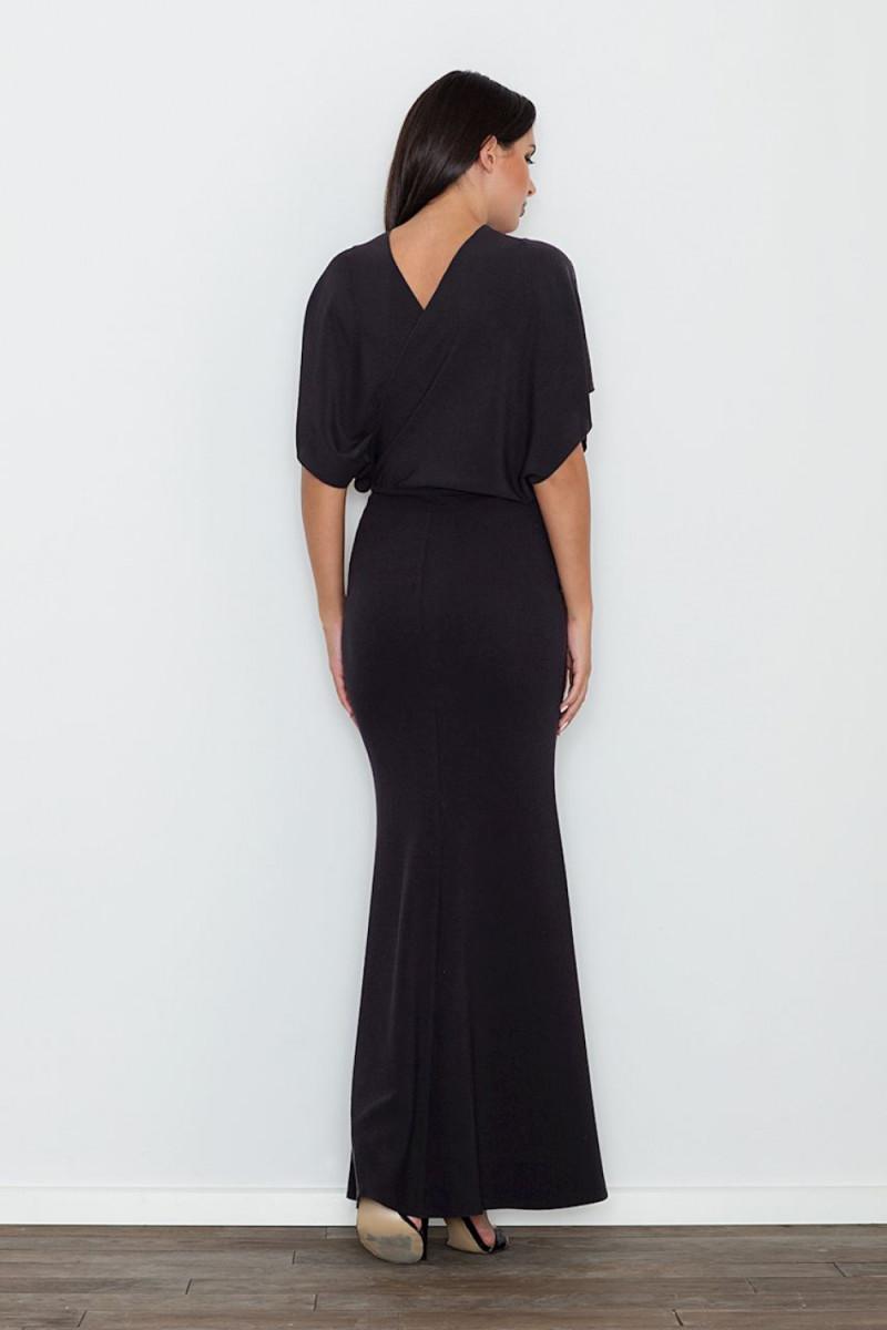 Elegantiška juoda suknelė dekoruota nėriniais_59805