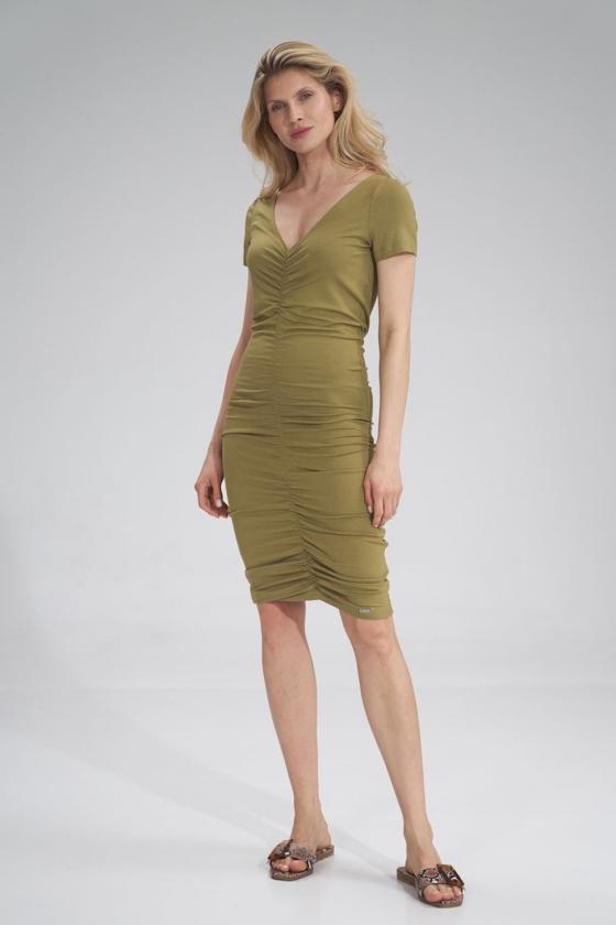 Stilinga žalia suknelė plasdančiomis rankovėmis_59896