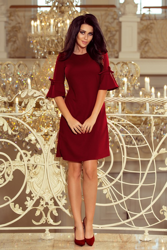 Stilinga bordinė suknelė plasdančiomis rankovėmis_59906
