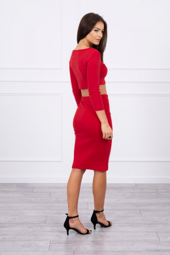 Raudonas dviejų dalių komplektas (sijonas+palaidinė)_60135