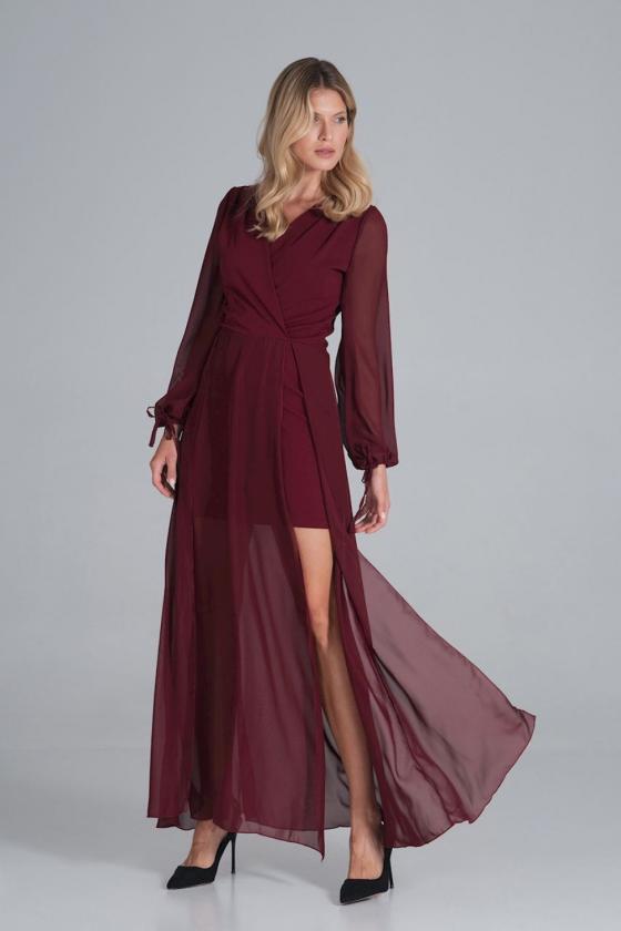 """Smėlinė šifoninė suknelė """"Valentina""""_60302"""