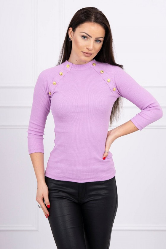 Elegantiška violetinė palaidinė su aukso spalvos sagomis