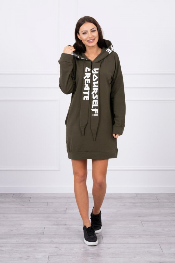Chaki padidinto modelio suknelė su gobtuvu_61151