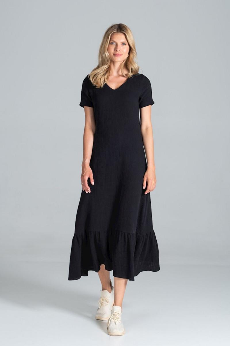 Mėlyna mini suknelė su gipiūro rankovėmis_61239