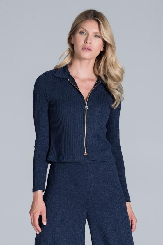 Mėlyna mini suknelė su gipiūro rankovėmis_61240