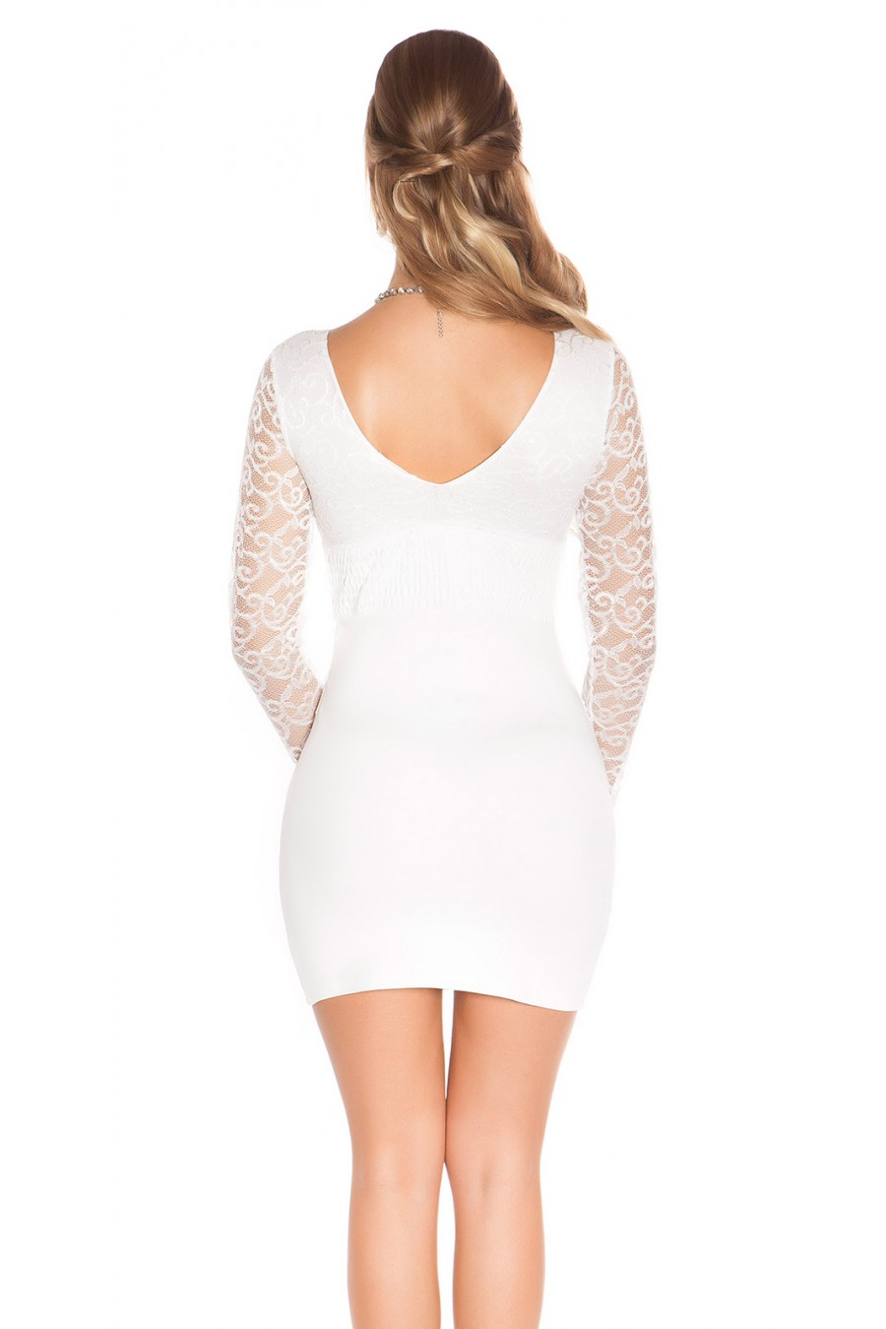 Balta mini suknelė su gipiūro rankovėmis_61241