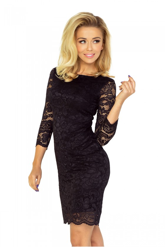 Elegantiška juoda gipiūrinė suknelė