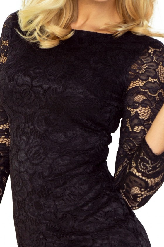 Elegantiška juoda gipiūrinė suknelė_61251