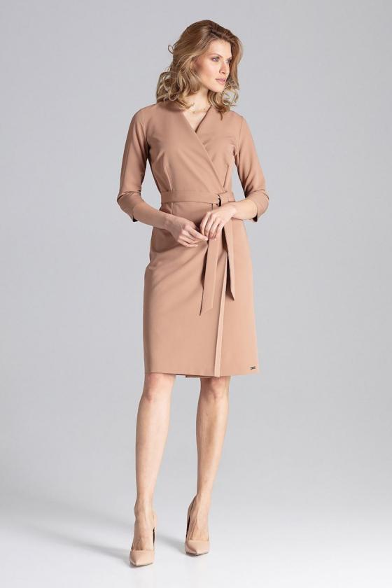 Juoda klostuota asimetriška suknelė