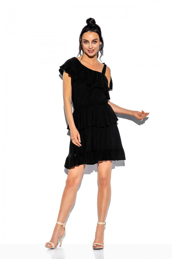 Juoda klostuota asimetriška suknelė_61323