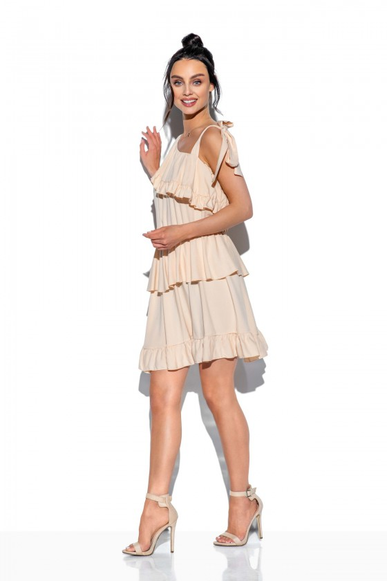 Smėlio spalvos klostuota asimetriška suknelė_61332