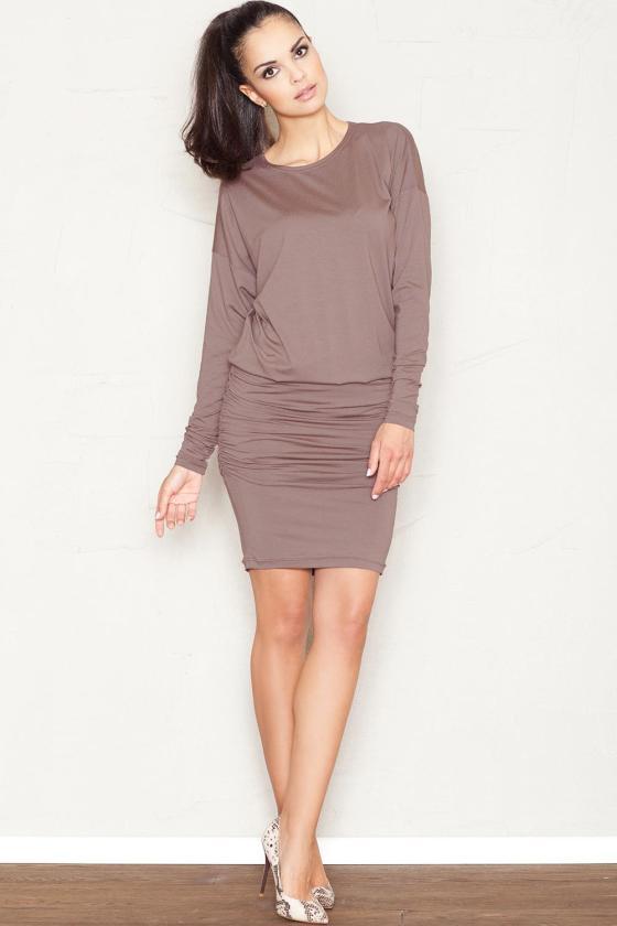 Chaki spalvos klostuota asimetriška suknelė_61338
