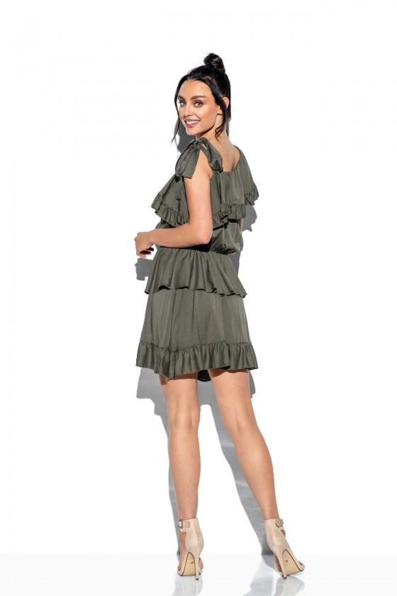 Chaki spalvos klostuota asimetriška suknelė_61339