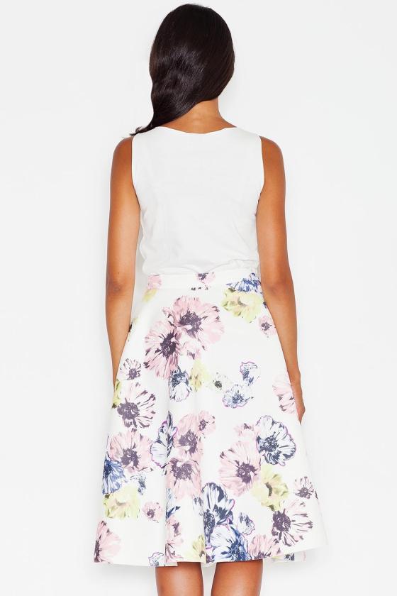 Baltos spalvos klostuota asimetriška suknelė_61346