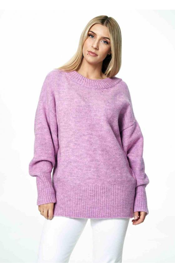 Mėlynos spalvos klostuota asimetriška suknelė