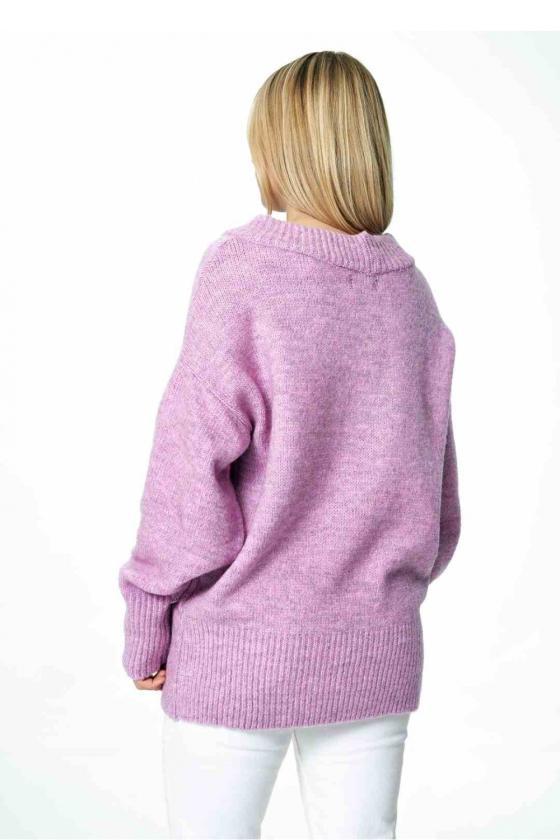 Mėlynos spalvos klostuota asimetriška suknelė_61356