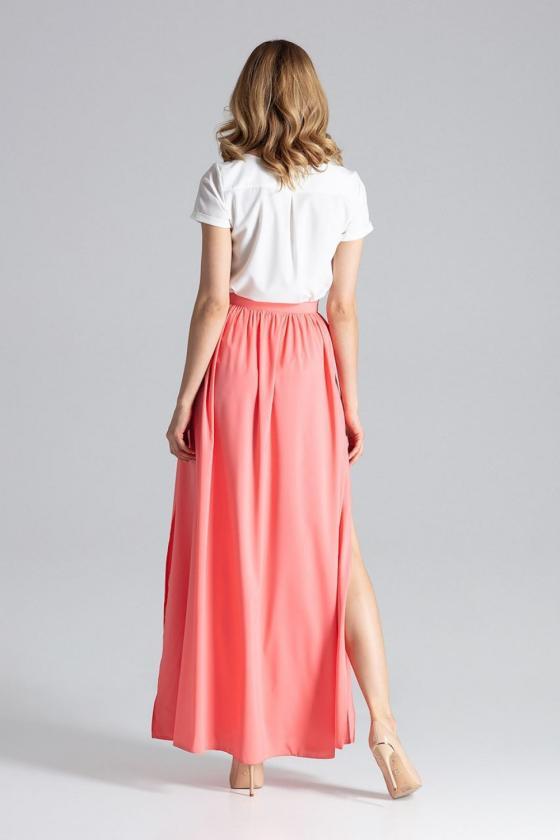 Violetinės spalvos klasikinė suknelė su kloste_61424