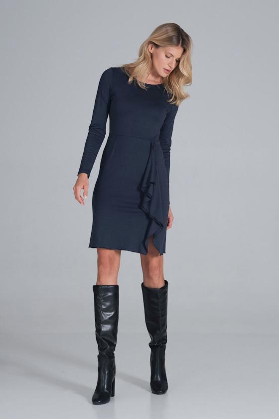 Žydra raštuota suknelė ant vienos petnešėlės