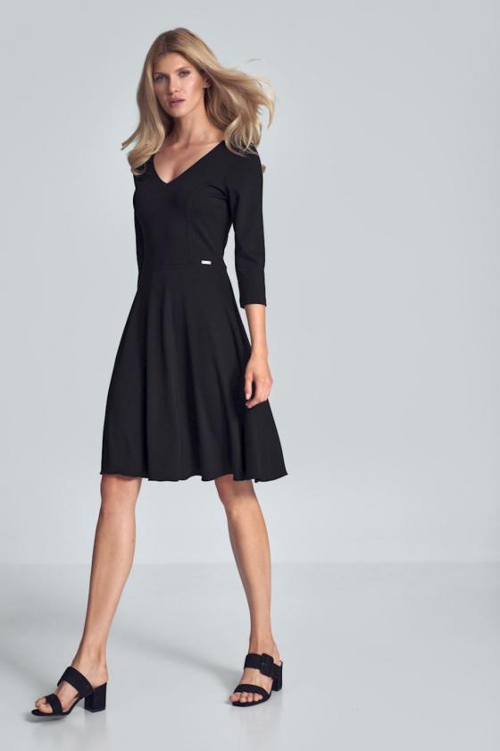 Rožinė raštuota suknelė ant vienos petnešėlės_61488