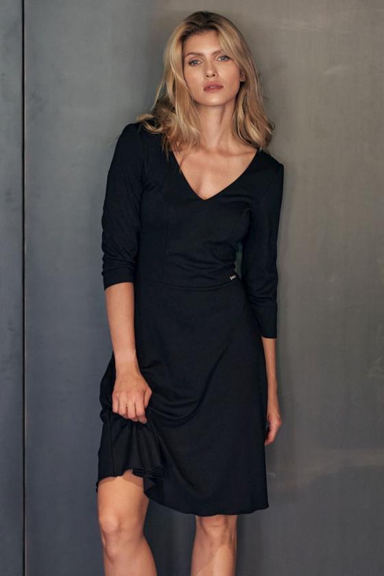 Rožinė raštuota suknelė ant vienos petnešėlės_61490