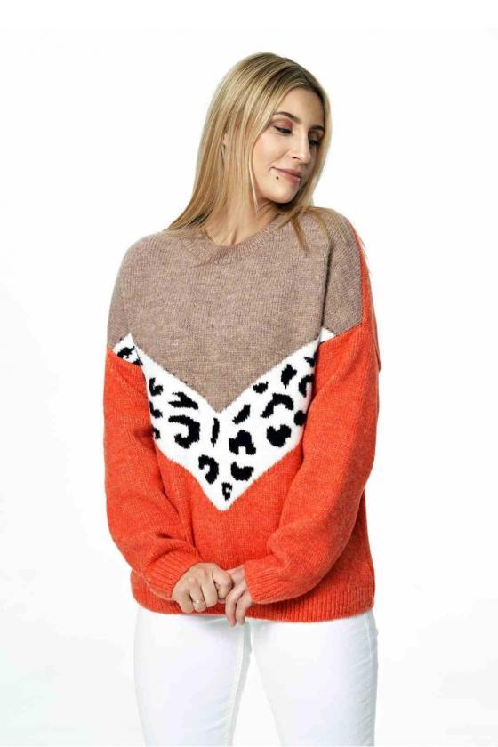 Koralinės spalvos satino imitacijos suknelė_61657