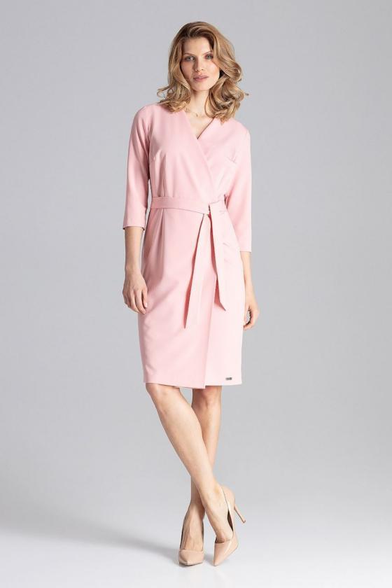 Rožinės spalvos satino imitacijos suknelė_61675