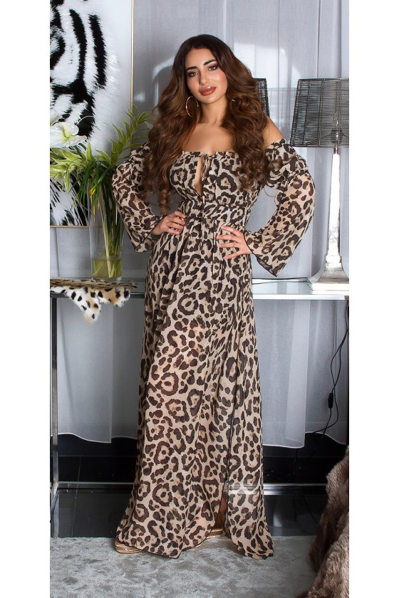Ilga leopardo rašto suknelė atvirais pečiais