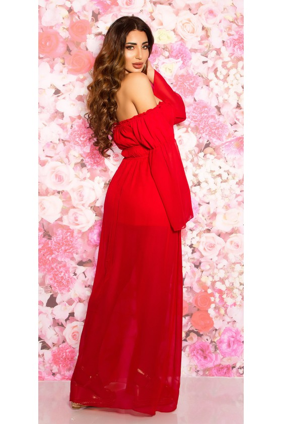 Ilga raudona suknelė atvirais pečiais_61721