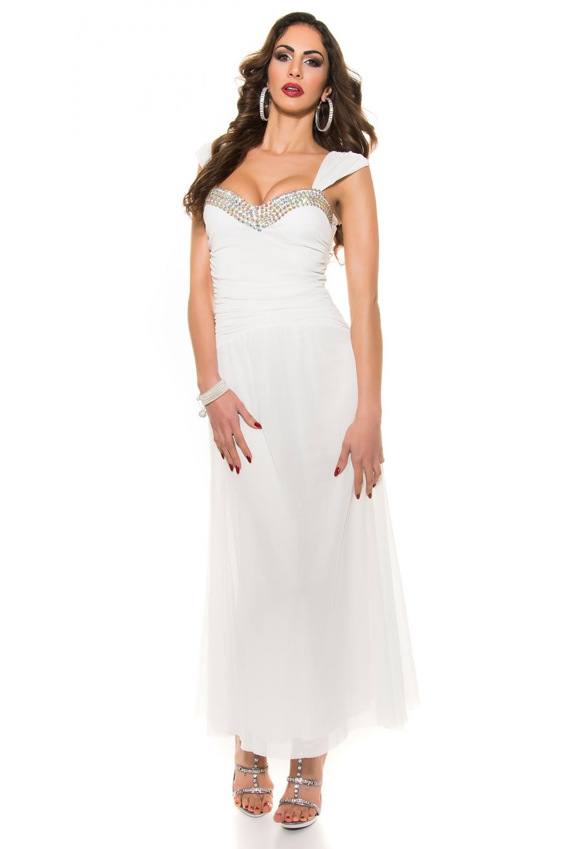 Balta ilga proginė suknelė dekoruota blizgias kristalais_61867
