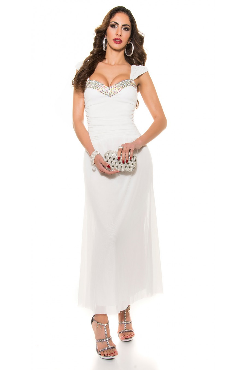Balta ilga proginė suknelė dekoruota blizgias kristalais