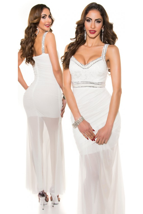 Balta ilga suknelė dekoruota perliukais