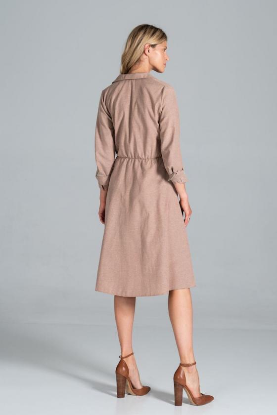 Megzta juodos spalvos suknelė su eko odos kišenėmis