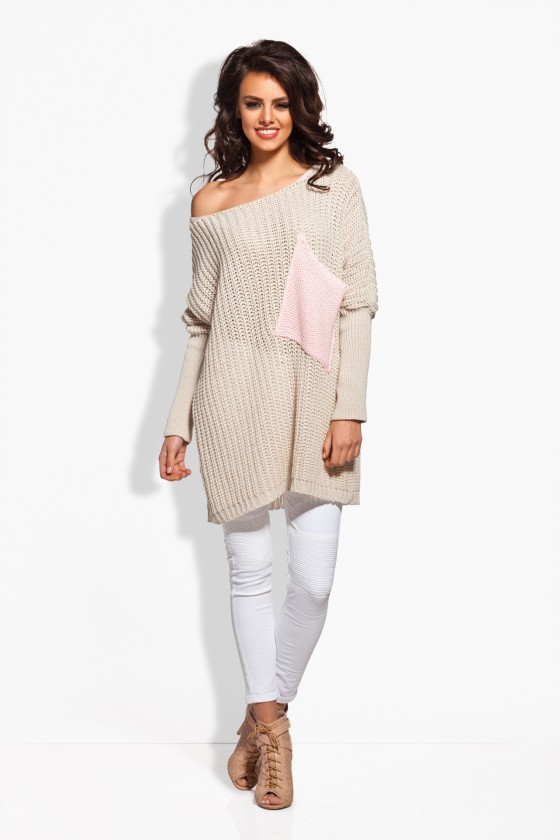 Ilgas smėlio spalvos megztinis su kontrastinga kišene_61982
