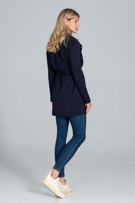 Ilgas pilkos spalvos megztinis su kontrastinga kišene_61985