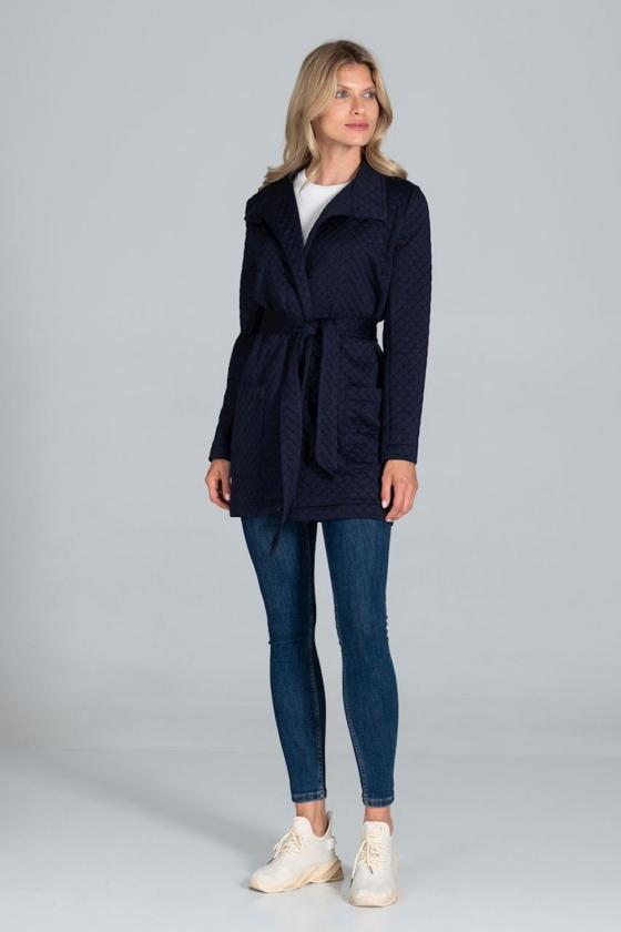 Ilgas pilkos spalvos megztinis su kontrastinga kišene