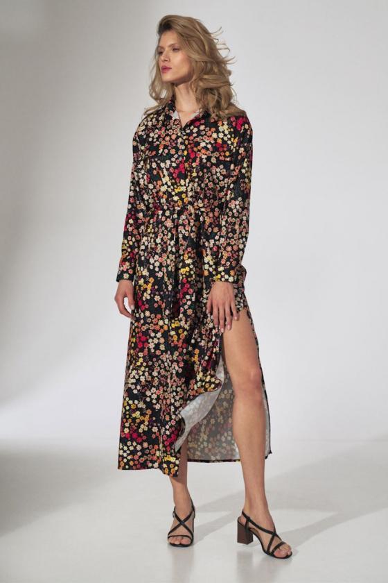 Maxi ilgio juoda suknelė dekoruota gėlių motyvais_62031