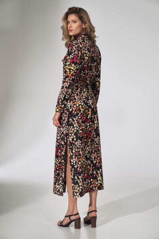 Maxi ilgio juoda suknelė dekoruota gėlių motyvais