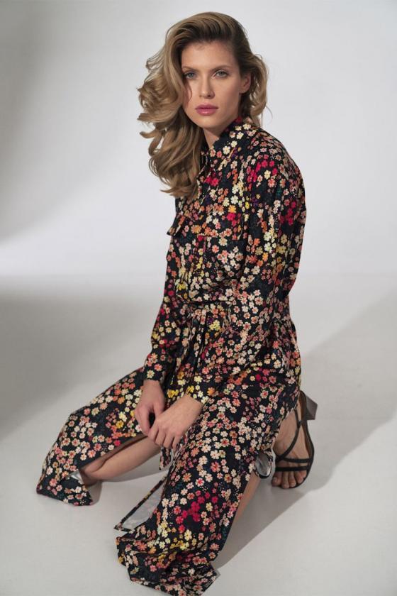 Maxi ilgio juoda suknelė dekoruota gėlių motyvais_62033
