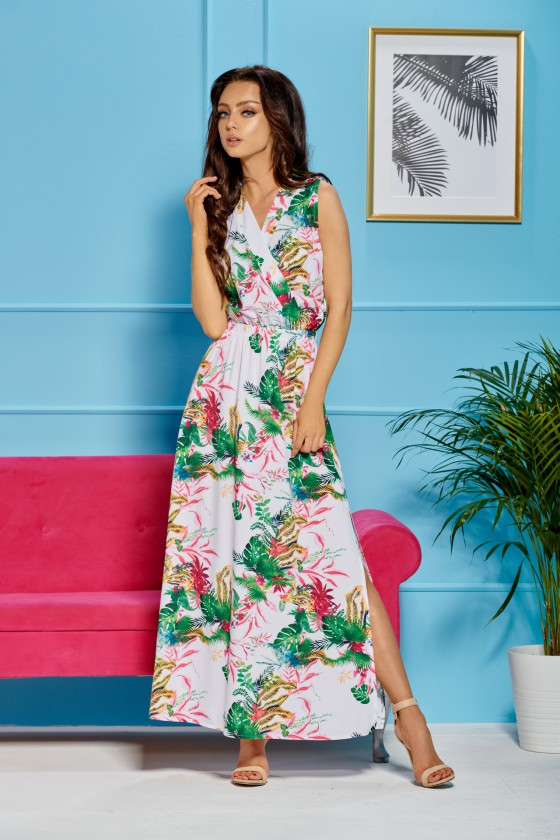 Maxi ilgio balta suknelė dekoruota gėlių motyvais