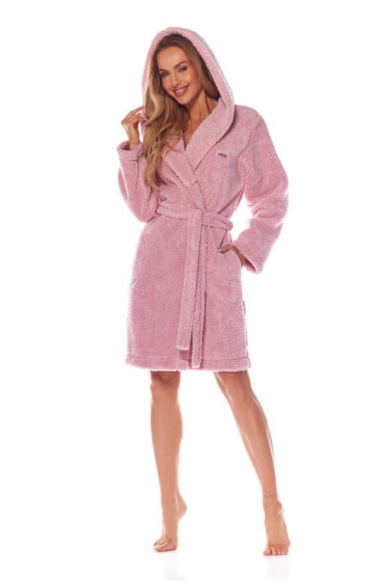 Chaki spalvos raukiniuota suknelė ilgomis rankovėmis