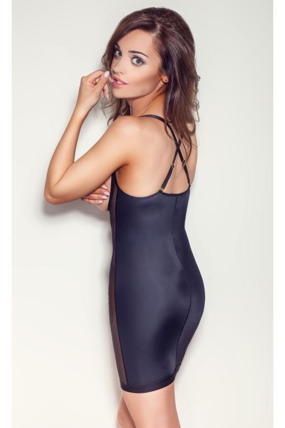 Geltonos spalvos raukiniuota suknelė ilgomis rankovėmis
