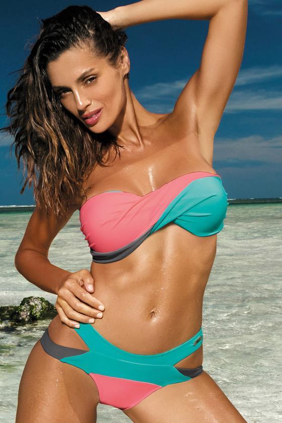 Elastinga neoninės rožinės spalvos suknelė dekoruota sagomis_62297