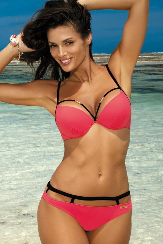 Elastinga neoninės rožinės spalvos suknelė dekoruota sagomis_62298