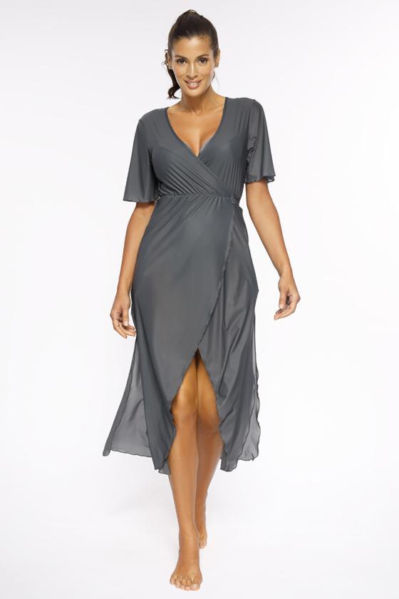 Elastinga alyvų spalvos suknelė dekoruota sagomis_62304